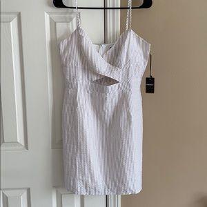 tan and white dress